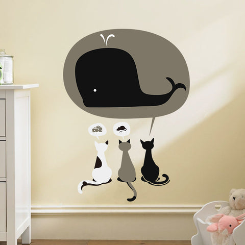 Three Cats and a Whale Wall Decal