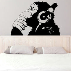 Monkey With Headphones Wall Decal
