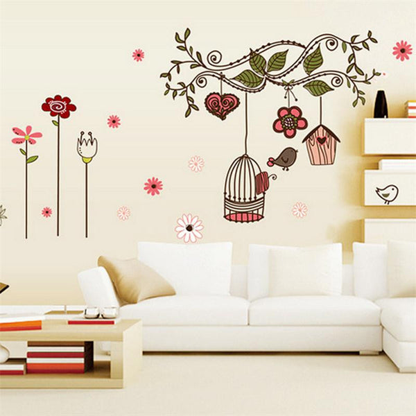 Little Bird Nest Tree Branch House Wall Sticker