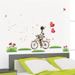Flower Girl on Butterfly Bike Wall Sticker