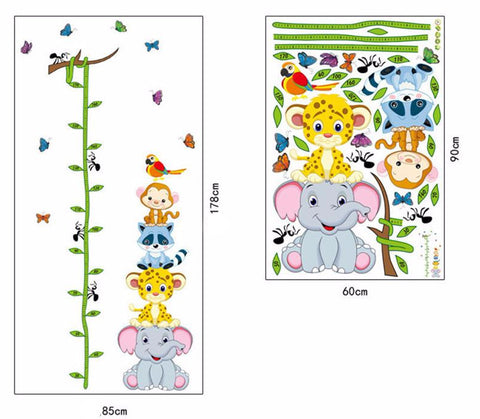 Children's Height Measure Growth Chart Animal Wall Sticker