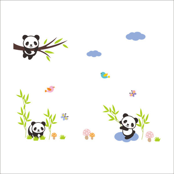 Forest Panda Bamboo Birds Sky Wall Stickers