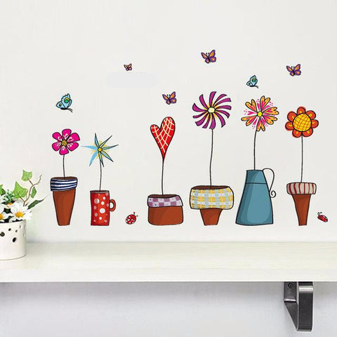 Korean-style Flower Pots Wall Stickers