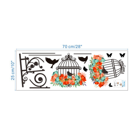 Flower Birds Birdcage Wall Stickers