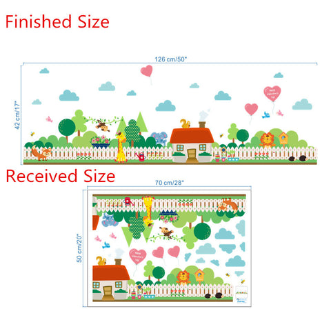 Forest Animals Village House Stickers