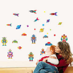 Colourful Cartoon Robots & Rockets Wall Stickers
