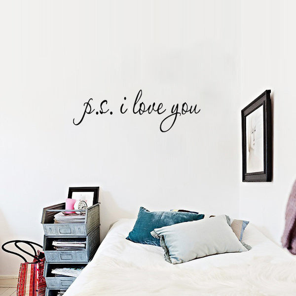 P.S I Love You Romantic Quote Home Decal