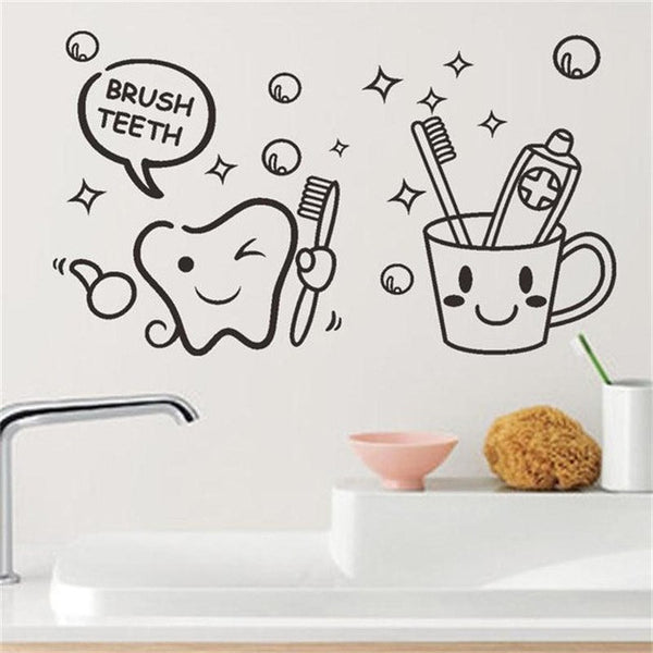 Cute Brush Teeth Smiley Face Decal