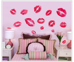 Hot red lips print wall sticker