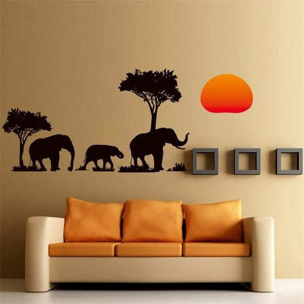Elephant Family Jungle Silhouette Wall Sticker