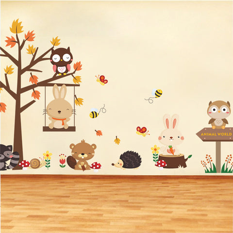 Forest Tree Animals Rabbit Bear Wing Wall Stickers