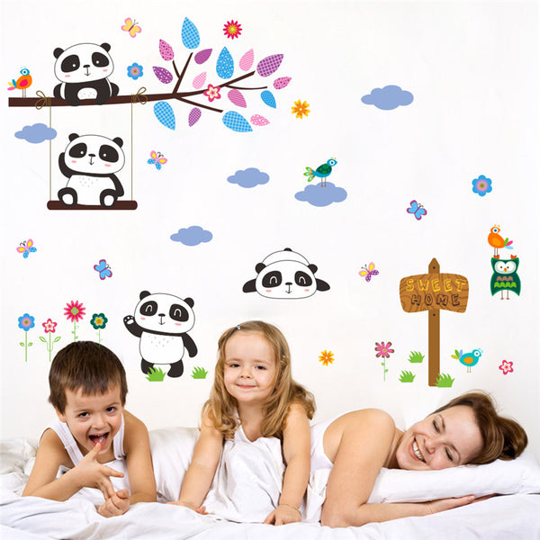 Panda Birds Flowers Wall Stickers
