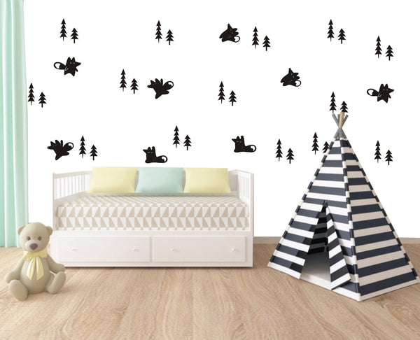 Fox And Trees Wall Stickers