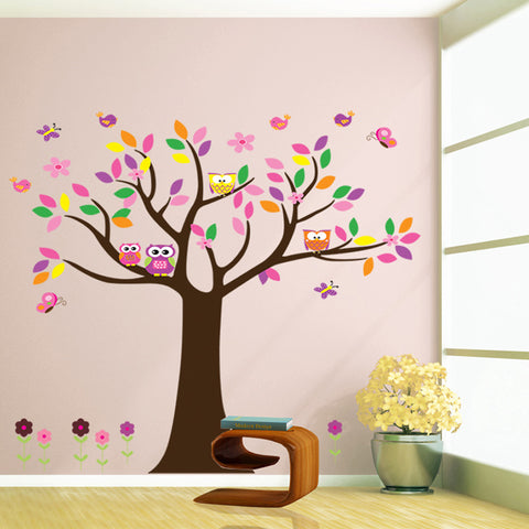 Birds Owls and Tree Wall Stickers