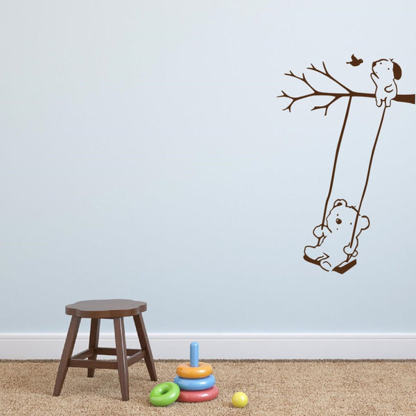 Bear on Swing Wall Sticker