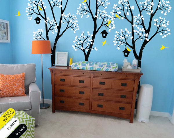 Birch Tree Birdhouse Wall Sticker
