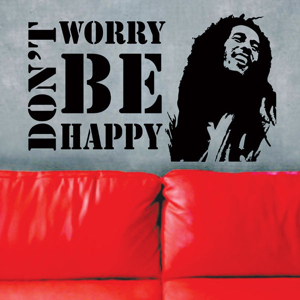 Bob Marley Do Not Worry About Happiness Quote Vinyl Wall Sticker