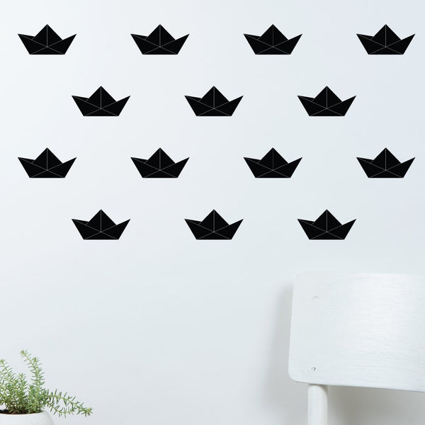 32-Set Paper Boats Kids Bedroom Wall Sticker