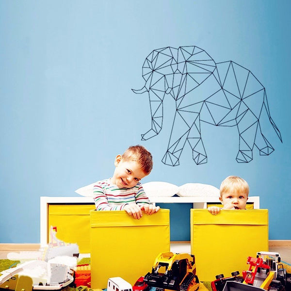 3D Geometric Elephant Nursery Room Wall Decal