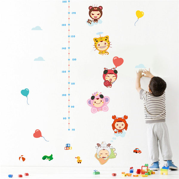 Animal Doll Wall Sticker Measurement Chart