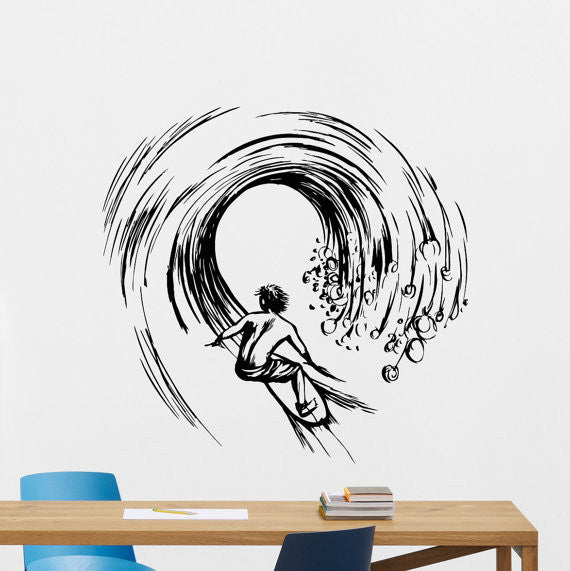 Surfer Art Design Sport Extreme Adventure Wall Sticker