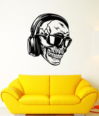 Vinyl Removable Wall Sticker Skeleton Skull With Headphones And Glasses Art Design Music Wall Stickers