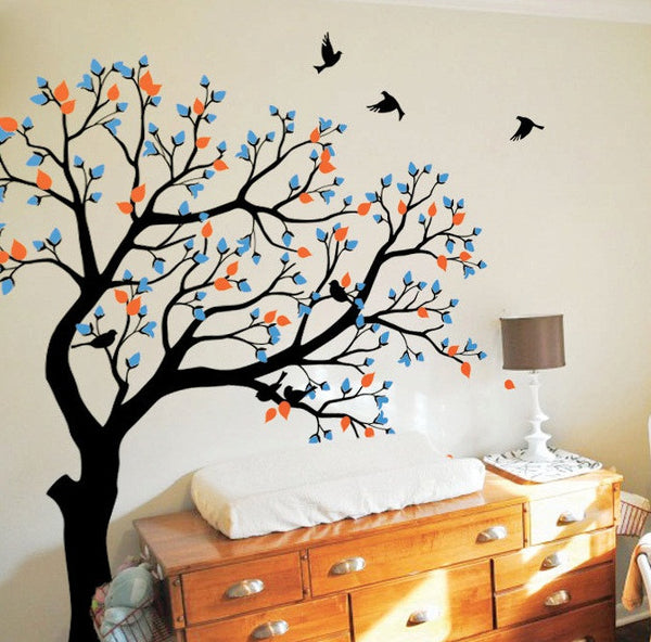 Huge Tree With Flying Birds Wall Decals