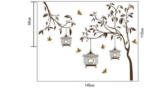 Birds Flying to Birdcage Wall Sticker