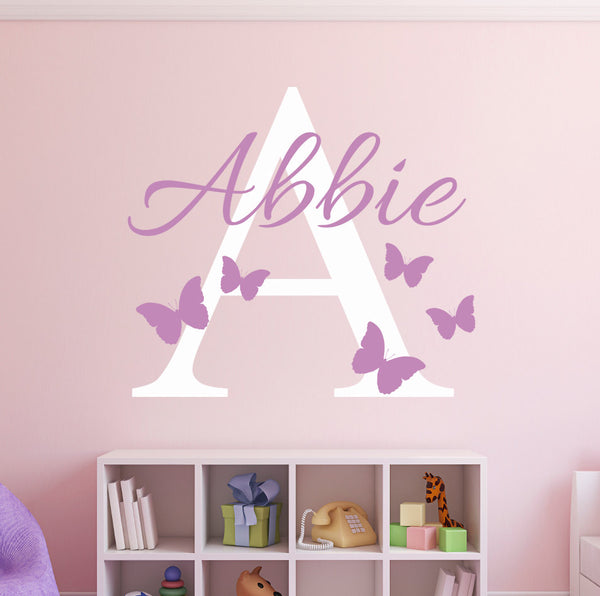Custom Name Butterflies Wall Decal