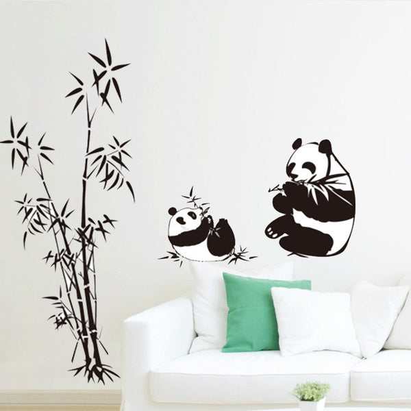 Black Bamboo Panda White Clouds Wall Stickers