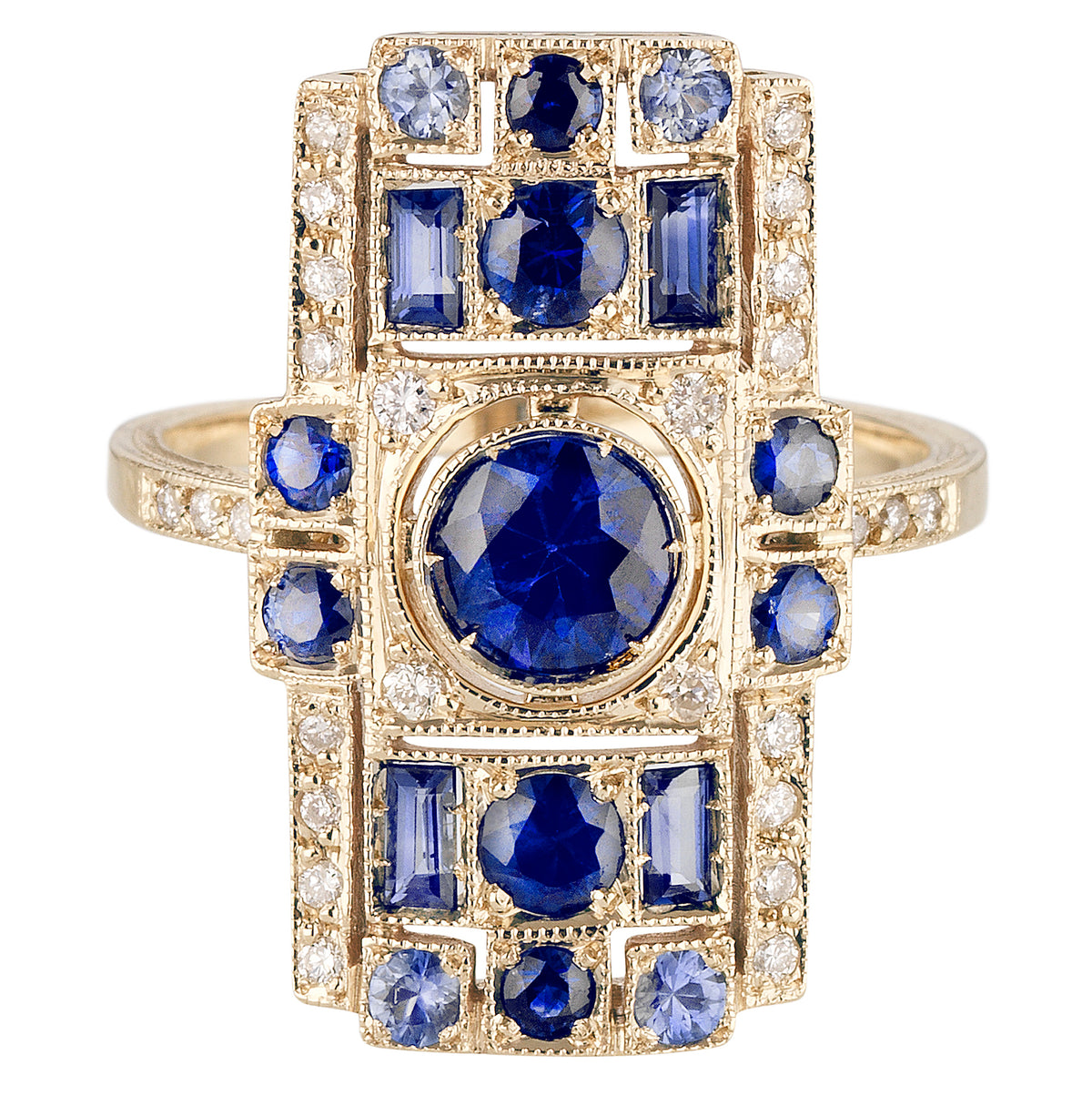 Blue Sapphire Harlequin Ring