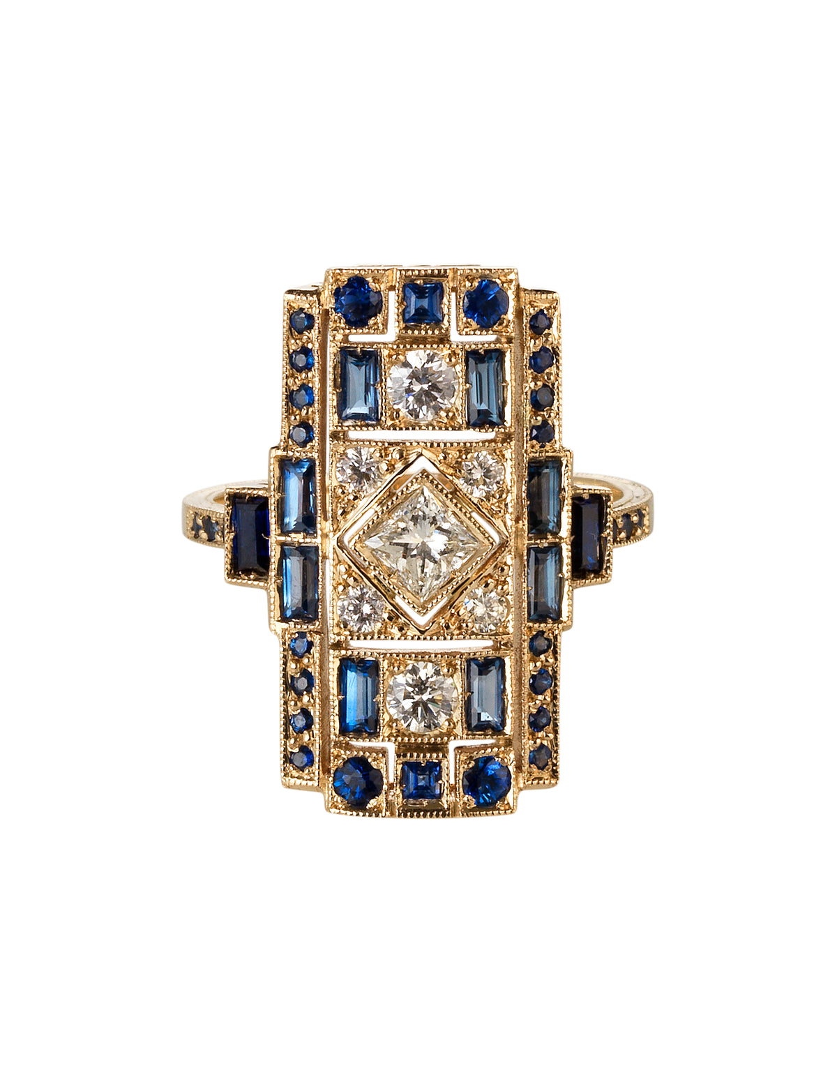 Ring in 18k White Gold set with Blue Sapphires and White Diamonds