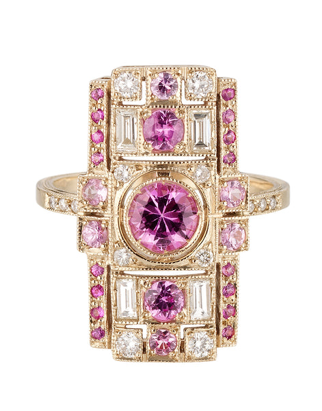 Pink Sapphire Harlequin Ring