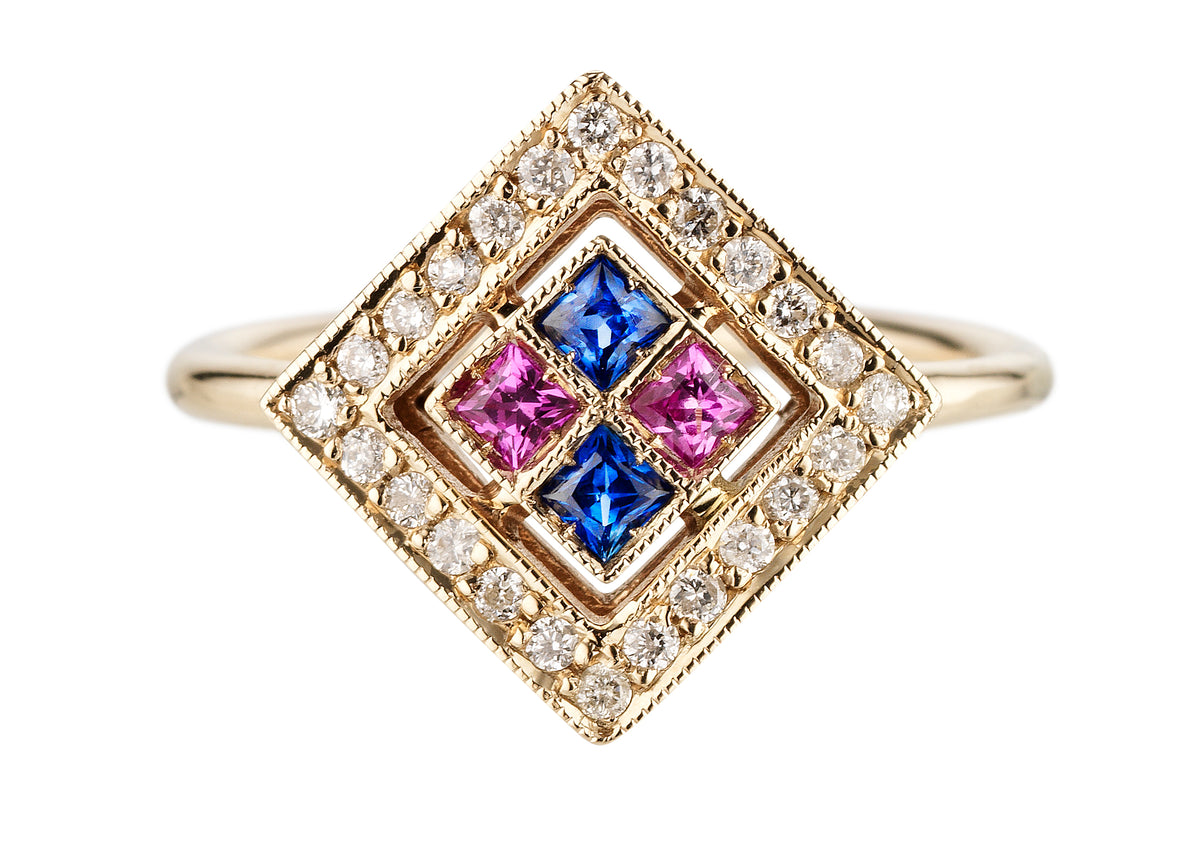 Ring in white gold set with white diamonds, blue sapphires and pink sapphires