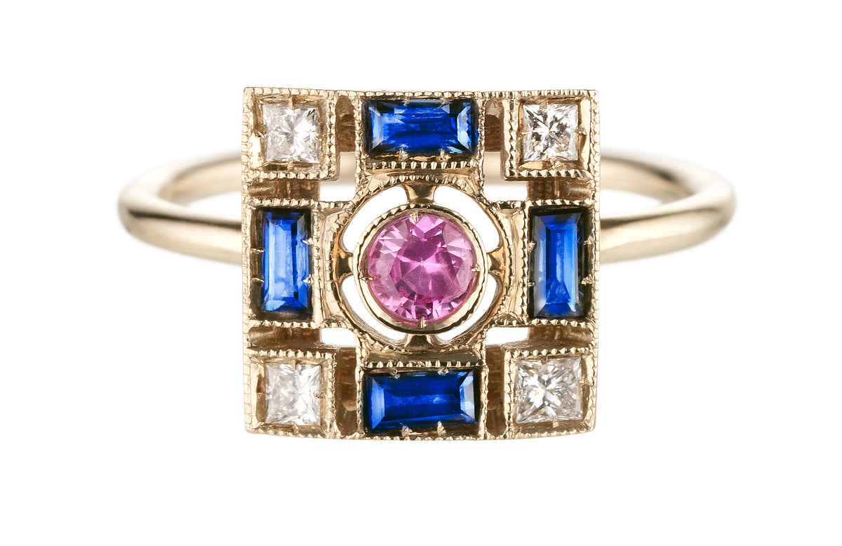 Harlequin Square Ring in White, Blue and Pink