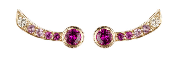 Earrings in white gold set with white diamonds and pink sapphires