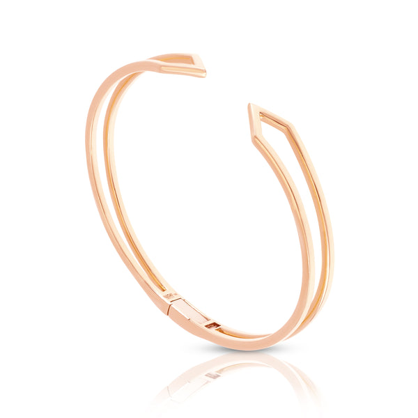Hinged Zig-Zag Bracelet in Rose Gold