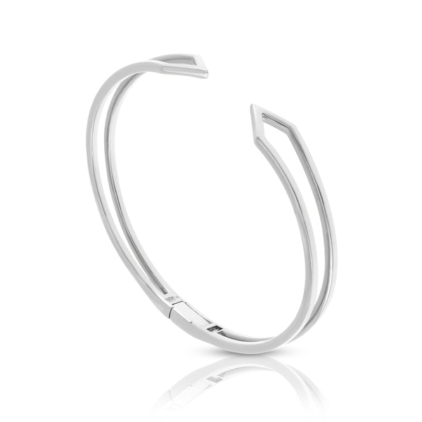 Hinged Zig-Zag Bracelet in White Gold