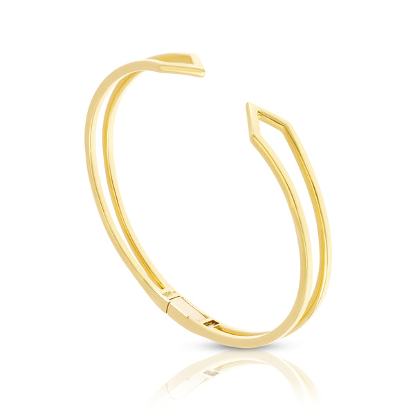 Hinged Zig-Zag Bracelet in Yellow Gold