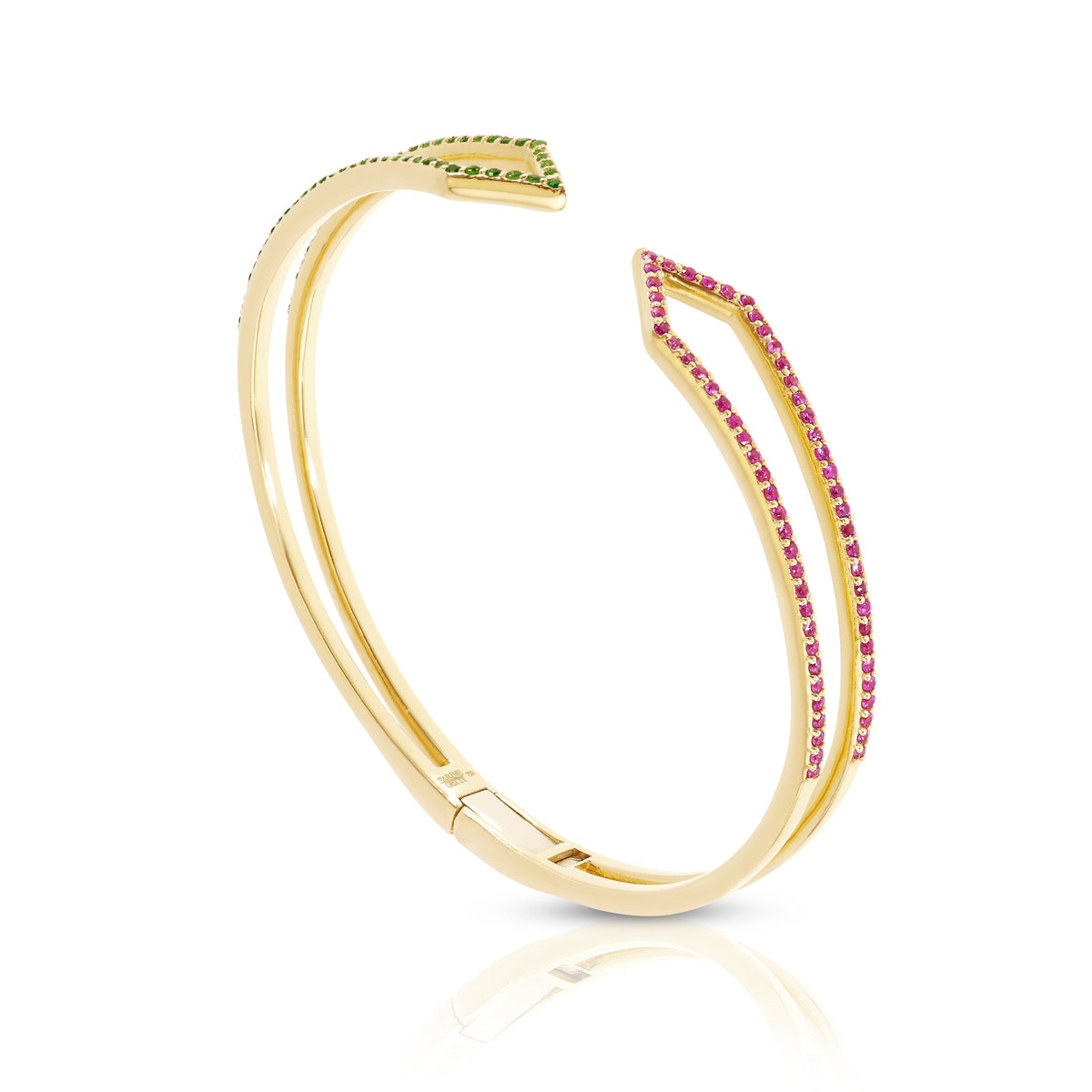 Hinged Zig-Zag Bracelet in Pink and Green