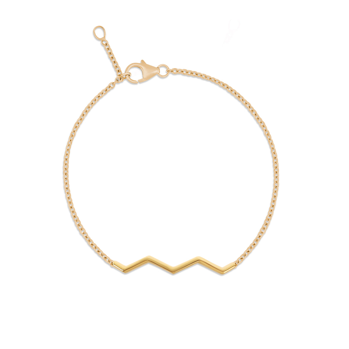 Chained Zig-Zag Bracelet in Yellow Gold