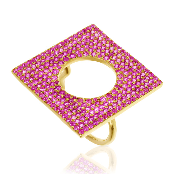 Pink Sapphire Square Ring