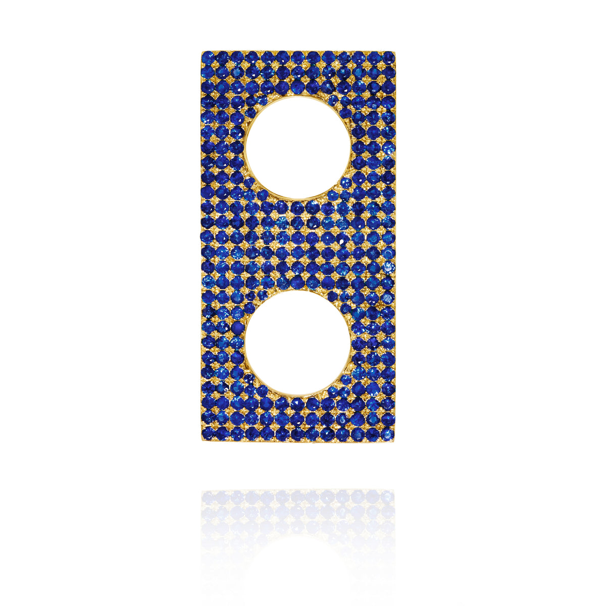 Blue Sapphire Rectangle Ear Piece