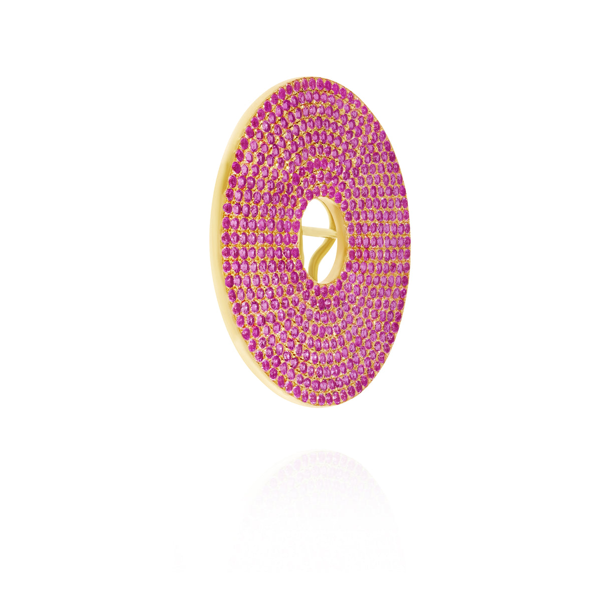 Pink Sapphire Circle Ear Piece