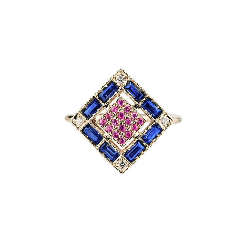 Ring in 18k white gold set with white diamonds and blue sapphires and pink sapphires.