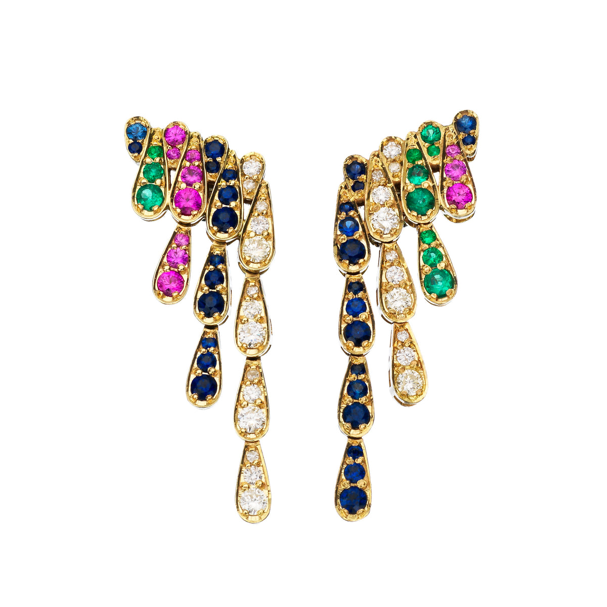 Earrings in white gold set with diamonds, emeralds, blue and pink sapphires