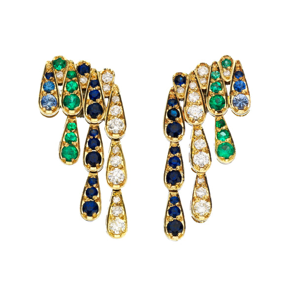 Earrings in white gold set with white diamonds, emeralds and blue sapphires