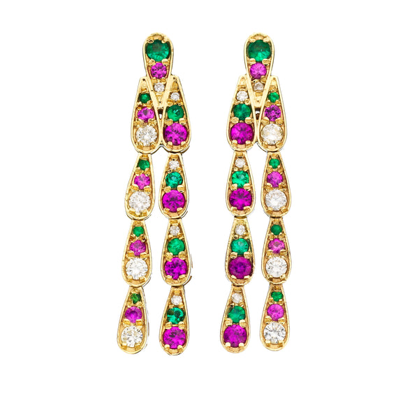 Earrings in white gold set with white diamonds, emeralds and pink sapphires