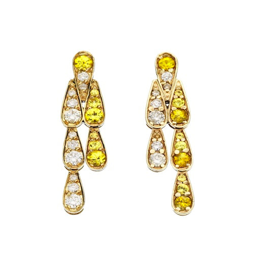 Earrings in White Gold set with White Diamonds and Yellow Sapphire