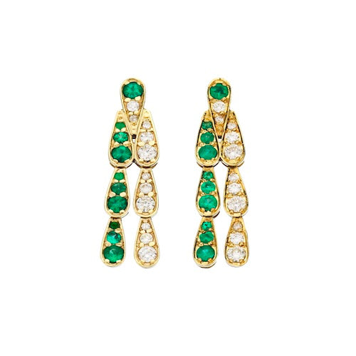 Earrings in White Gold set with White Diamonds and Emeralds